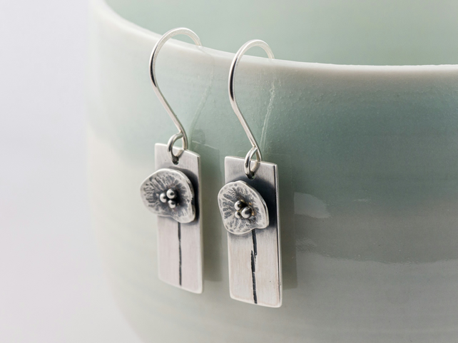 Silver poppy flower earrings