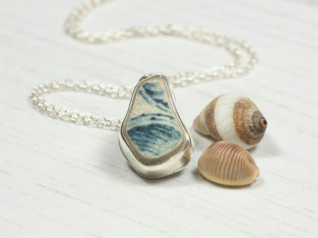 Sea pottery and sterling silver necklace, sea ceramic pendant