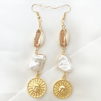 Gold Natural Shell Pearl Earrings, Summer Earrings, Trendy Statement Earrings