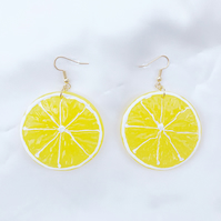 Yellow Lemon Earrings, Bright Summer Earrings, Trendy Fruit Earrings