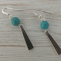 Turquoise Earrings with Celtic Detail