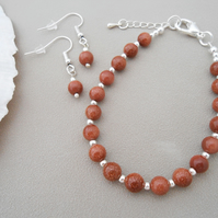 Goldstone jewellery set with copper flecks for women - new for 2019.