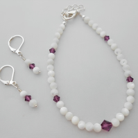 Pearl and Swarovski crystal jewellery set 2019.