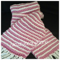 Hand Knitted Chunky pink and white Scarf