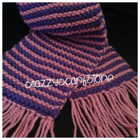 Hand Knitted Chunky pink and purple Scarf