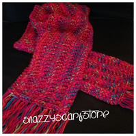Hand Knitted Rainbow Mix Fringe Scarf