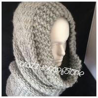 Hand Knitted Grey Chunky Cowl Scarf