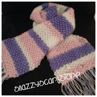 Hand Knitted Pastel Stripes Scarf