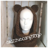Hand Knitted Bear Cowl Scarf