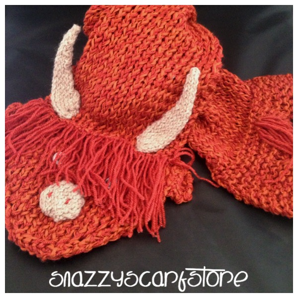 Hand Knitted Harry The Highland Cow Scarf