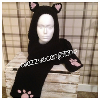 Hand Knitted Cutie Cat Hooded Scarf