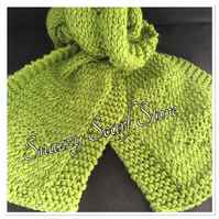 Hand Knitted Bright Green Diamond Scarf