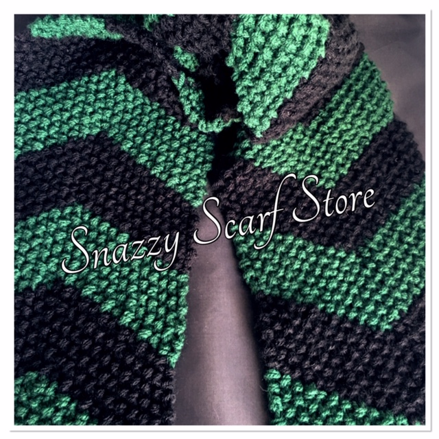 Hand Knitted Green & Black Chevron Scarf