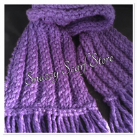 Chunky Purple Knitted Fringe Scarf