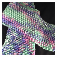 Hand Knitted Bright Pastels Scarf