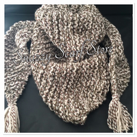 Hand Knitted Beige & Brown Chunky Triangular Scarf