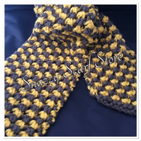 Hand Knitted Brown & Mustard Chunky Scarf