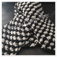 Hand Knitted Black & Grey Chunky Scarf