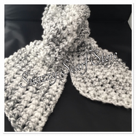 Hand Knitted Grey Mix Chunky Scarf