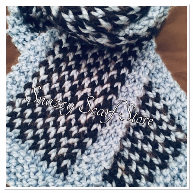 Hand Knitted Chunky Blues Scarf