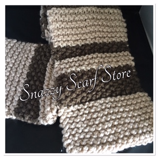 Hand Knitted Brown & Beige Chunky Scarf
