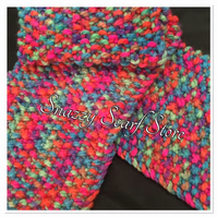 Hand Knitted Bright Rainbow Mix Scarf