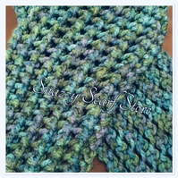 Hand Knitted Blue And Green Mix Scarf