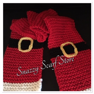 Hand Knitted Santa Scarf