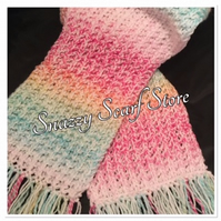 Hand Knitted Rainbow Of Pastels Scarf