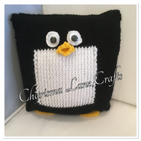 Hand Knitted Percy The Penguin Cushion
