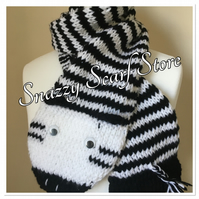 Hand Knitted Zara The Zebra Scarf