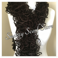 Hand Knitted Brown Sparkle Ruffle Scarf