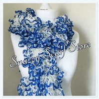 Hand Knitted Blue & White Ruffle Scarf