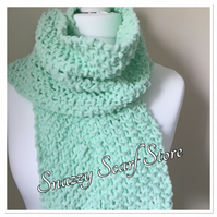 Hand Knitted Super Soft Mint Green Scarf