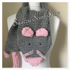 Hand Knitted Molly The Mouse Scarf