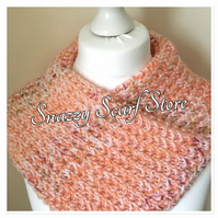 Hand Knitted Peach Sparkle Cowl Scarf