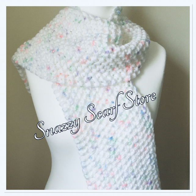 Hand Knitted White Coloursplash Scarf
