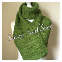 Hand Knitted Green Diamond Pattern Scarf