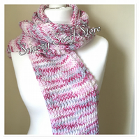 Hand Knitted Pink Mix Hooded Scarf