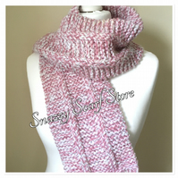 Hand Knitted Pink and White Fringe Scarf