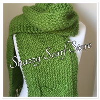 Hand Knitted Green Chunky Heart Scarf