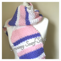 Hand Knitted Pastel Stripes Fringe Scarf