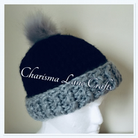 Hand Knitted Chunky Black and Grey Hat