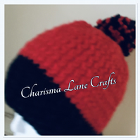 Hand Knitted Chunky Red and Black Hat