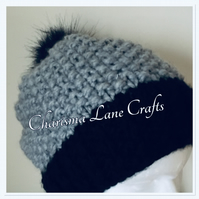 Hand Knitted Chunky Grey and Black Hat