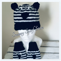 Hand Knitted Zara The Zebra Hat & Mittens Set