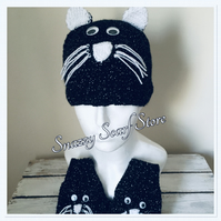 Hand Knitted Corry The Cat Hat & Mittens Set