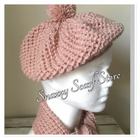 Hand Knitted Rose Pink Sparkle Hat & Scarf Set