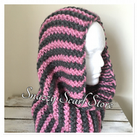 Hand Knitted Chunky Pink & Grey Cowl Scaf