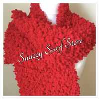 Hand Knitted Red Chunky Bobble Scarf